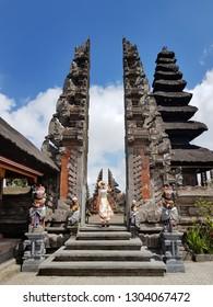 Kintamani, Bali/Indonesia - August 14th 2018: Hindu temple Ulundanu Batur in Kintamani area is not so famous tourist attraction in Bali