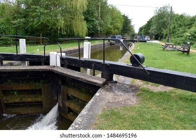 Kintbury, Berkshire/England-May, 26, 2019:  A close up view of the Kintbury lock on the Kennet and Avon canels in Berkshire