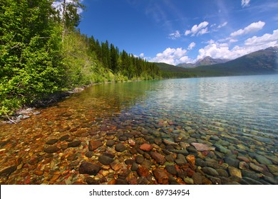 Kintla Lake seen on a beautiful summer day in Glacier National Park - USA
