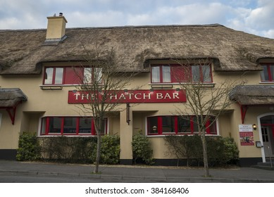 KINVARA, IRELAND - FEBRUARY 28, 2016: Hotel and pub in a building with a traditional thatched roof.