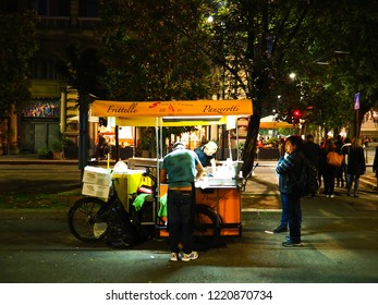 Kiosk selling street food in front of Castello Sforzesco in Milan during the deejay ten event on september 2018. 08 september 2018 Milan