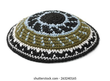 Kippah - traditional jewish headwear isolated on white