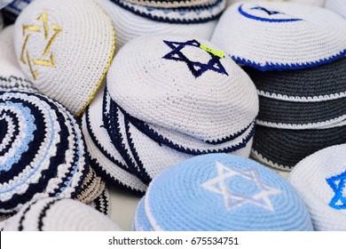 Kippahs Yarmulkes Jewish Hats Covers Israeli Star of David Souvenirs Safed Tsefat Israel. Kippahs. Jewish headgear worn by men during a Jewish. Required by Judaisim.