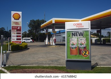 Kippa-Ring, Queensland, Australia. March 2017 - editorial use only: Coles Shell petrol station/gas station with convenience store advertising.