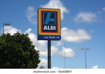 Kippa-Ring, Queensland, Australia. November 2017 - Editorial use only: Tower sign for German-owned Aldi supermarket in stand-alone location on Anzac Avenue