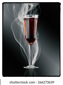 Kir Royal cocktail. Champagne and sparkling wine cocktail