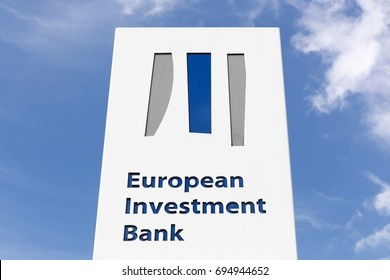 Kirchberg, Luxembourg - July 22, 2017: European investment bank logo on a panel.  The European investment bank is the European Union's nonprofit long-term lending institution established in 1958
