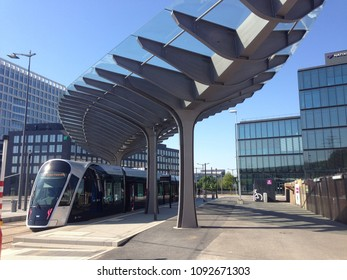 Kirchberg, Luxembourg - May 9, 2018: modern tram