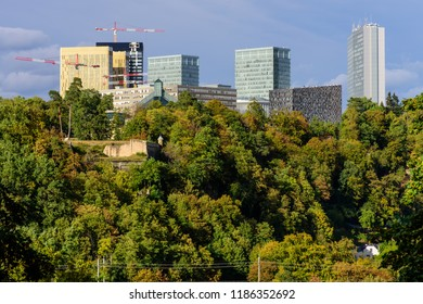 Kirchberg, Luxembourg - September 21, 2018: The Kirchberg business district has multiple cranes working on new constructions