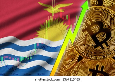 Kiribati flag and cryptocurrency growing trend with many golden bitcoins