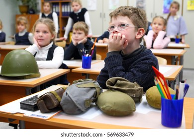 KIRISHI,RUSSIA-15 December,2016:Children in elementary school in class during the lesson of Patriotic education on the Second world war in Kirishi,Russia on December 15,2016.