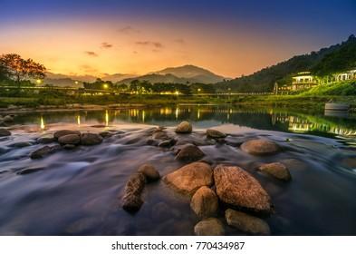 Kiriwong Landscape of small river and beautiful sunset  Keeree Wong Ban Khiri Wong village Nakhon Si Thammarat Thailand