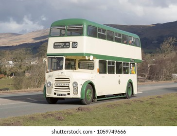 KIRKBY STEPHEN ENGLAND, April 1 2018 1967 Leyland Titan double decker  on a preserved passenger bus service,