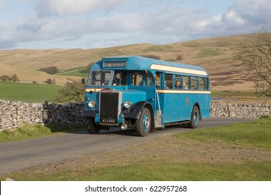 KIRKBY STEPHEN ENGLAND, APRIL 15 2017 Former Haslingden Corporation 1949 Leyland Tiger PS1 preserved single deck bus with Burlingham body on a scenic run on a moorland road