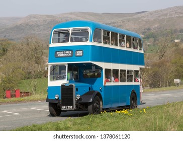 KIRKBY STEPHEN ENGLAND, April 20 2019. Former Exeter Corporation 1959 Guy Arab IV double deck bus with Massey H30/26R body on a preserved passenger bus service,