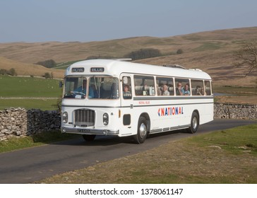 KIRKBY STEPHEN ENGLAND, April 20 2019. Ex National Express 1969 Bristol RELH6G coach with ECW body on a preserved passenger bus service,
