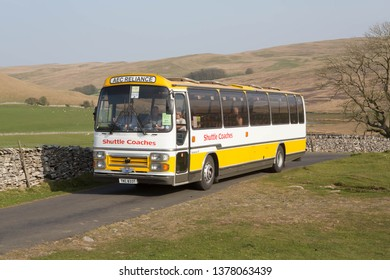 KIRKBY STEPHEN ENGLAND, April 20 2019. 1979 AEC Reliance 6U3ZR coach with Plaxton Supreme body on a preserved passenger bus service