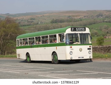 KIRKBY STEPHEN ENGLAND, April 21 2019. Ex Blackpool Corporation 1974 AEC Swift single decker on a preserved passenger bus service.