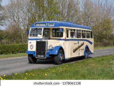 KIRKBY STEPHEN ENGLAND, April 21 2019. 1949 Leyland Tiger PS1 coach with Alexander body on a preserved passenger bus service
