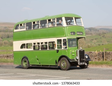KIRKBY STEPHEN ENGLAND, APRIL 21 2019 Former Blackburn Corporation 1949 Guy Arab 111 preserved double decker bus with Crossley body on a preserved passenger bus service.
