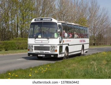 KIRKBY STEPHEN ENGLAND, April 21 2019. Ex National Express 1980 Leyland leopard coach with Plaxton Supreme body on a preserved passenger bus service,