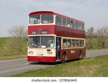 KIRKBY STEPHEN ENGLAND, April 21 2019. Ex Merseybus 1972 Leyland Atlantean double decker bus with an Alexander body on a preserved passenger bus service,