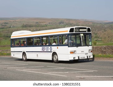 KIRKBY STEPHEN ENGLAND, April 21 2019 1978 Leyland National Mk 1 prototype on a preserved passenger bus service