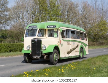 KIRKBY STEPHEN ENGLAND, April 21 2019.  Ex Florence Motors 1948 AEC Regal coach with MCW body on a preserved passenger bus service.