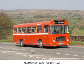 KIRKBY STEPHEN ENGLAND, April 21 2019 Ex Ribble 1972 Bristol RESL with ECW body on a preserved passenger bus service