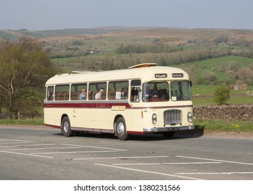 KIRKBY STEPHEN ENGLAND, April 21 2019. 1967 Bristol RELH6G with Eastern Coachworks C47F body on a preserved passenger bus service.