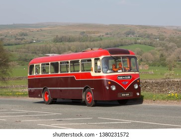 KIRKBY STEPHEN ENGLAND, April 21 2019. Ex Burnett and Mintlow 1963 AEC Reliance coach with Plaxton B47F body on a preserved passenger bus service.