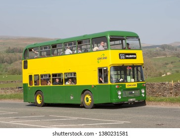KIRKBY STEPHEN ENGLAND, April 21 2019. 1977 Bristol VRT double decker bus with ECW H43/31F body on a preserved passenger bus service.
