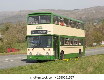KIRKBY STEPHEN ENGLAND, April 21 2019. Ex Blackpool Corporation 1983 Leyland Atlantean double decker with East Lancs body on a preserved passenger bus service.