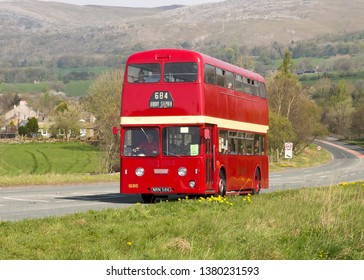 KIRKBY STEPHEN ENGLAND, April 21 2019. Ex Ribble 1960 Leyland Atlantean PDR1/1 double decker with Metro-Camell H77F on a preserved passenger bus service.