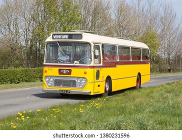 KIRKBY STEPHEN ENGLAND, April 21 2019. 1963 Leyland Leopard coach with Alexander body on a preserved passenger bus service.