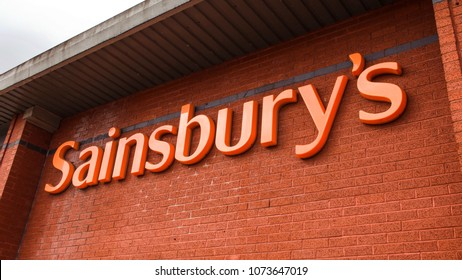 Kirkintilloch, Glasgow, Scotland, UK; April 16th 2018:  Sainsbury's supermarket sign.