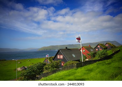 Kirkjubour village in Faroe Islands