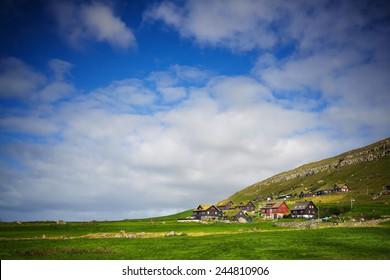 Kirkjubour village in Faroe Islands with copy-space