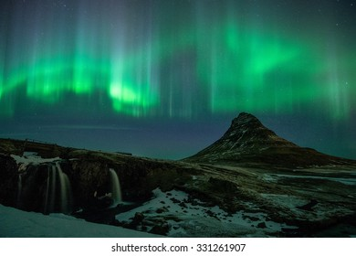 Kirkjufell with the green light