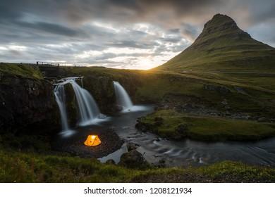 Kirkjufell mountain and Kirkjufellsfoss waterfall in Iceland