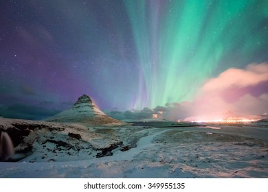 Kirkjufell Mountain with the Northern Light Iceland