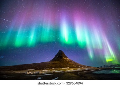 Kirkjufell with the Northern Light.