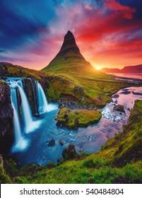 Kirkjufell volcano the coast of Snaefellsnes peninsula. Picturesque and gorgeous morning scene. Popular tourist attraction. Location famous Kirkjufellsfoss waterfall, Iceland, Europe. Beauty world.