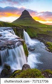 Kirkjufell and its waterfall, Iceland. Famous rravel destination in iceland. Landscape and nature photography