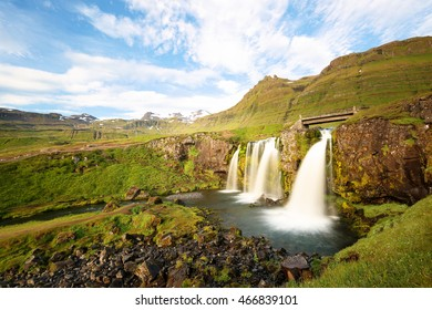 Kirkjufellfoss at Sunrise, Iceland. The fall also known as Church Mountain Falls located at  Kirkjufell mountain on the west side of Iceland.