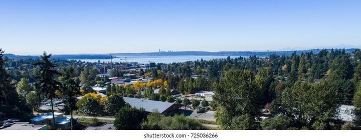 Kirkland Lake Washington USA Waterfront Aerial View Looking Towards Seattle
