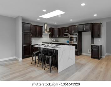 Kirkland, WA / USA - April 1, 2019: Luxury kitchen interior