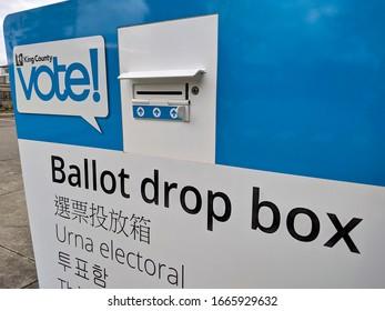 Kirkland, WA / USA - circa February 2020: Street view of a voting ballot drop off box at city hall in downtown Kirkland.
