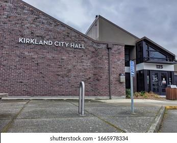 Kirkland, WA / USA - circa February 2020: Exterior street view of the city hall building in downtown Kirkland.