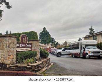 Kirkland, WA / USA - circa March 2020: Street view of the Life Care Center of Kirkland building, ground zero of the coronavirus outbreak in Kirkland